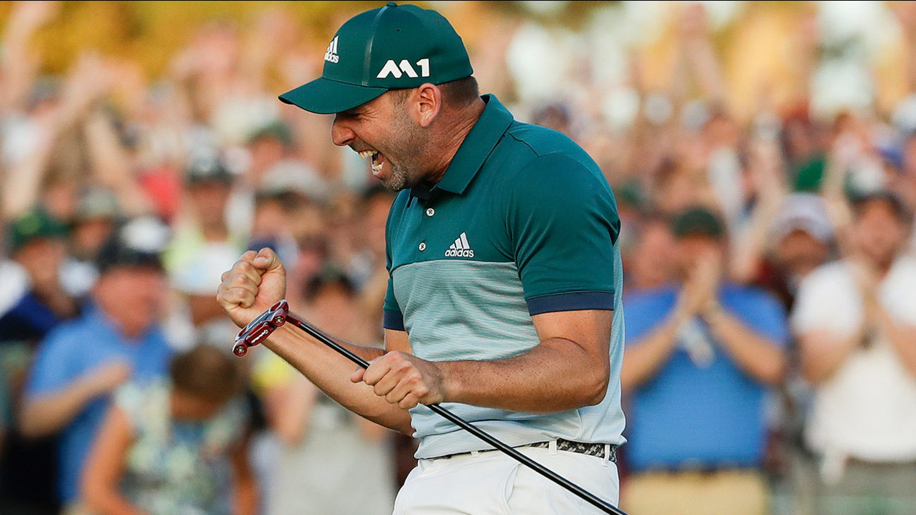 Sergio Garcia, of Spain, reacts after making his birdie putt on the 18th green to win the Masters golf tournament after a playoff Sunday, April 9, 2017, in Augusta, Ga.
