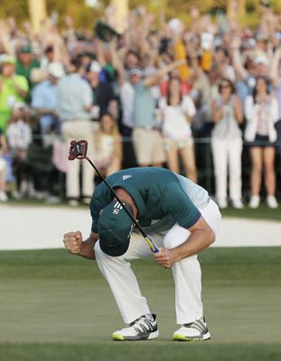 "<div class=""meta image-caption""><div class=""origin-logo origin-image ap""><span>AP</span></div><span class=""caption-text"">Sergio Garcia, of Spain, reacts after making his birdie putt on the 18th green to win the Masters golf tournament after a playoff Sunday. (AP Photo/David J. Phillip) (AP)</span></div>"