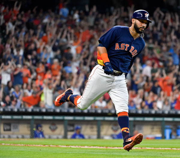 "<div class=""meta image-caption""><div class=""origin-logo origin-image none""><span>none</span></div><span class=""caption-text"">Houston Astros Marwin Gonzalez rounds the bases after hitting the game-tying two-run home run off Kansas City Royals starting pitcher Travis Wood in the seventh inning. (AP Photo/Eric Christian Smith)</span></div>"