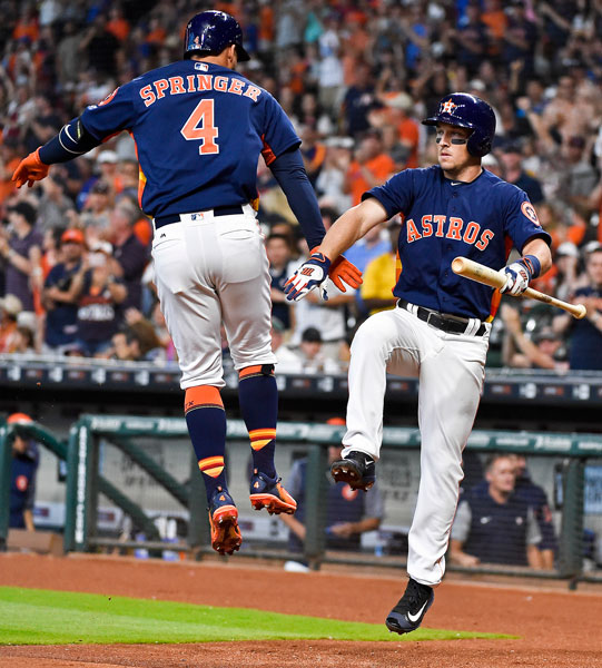 "<div class=""meta image-caption""><div class=""origin-logo origin-image none""><span>none</span></div><span class=""caption-text"">Houston Astros' George Springer, left, celebrates his solo home run with Alex Bregman, right, in the first inning of a baseball game, Sunday, April 9, 2017, in Houston. (AP Photo/Eric Christian Smith)</span></div>"