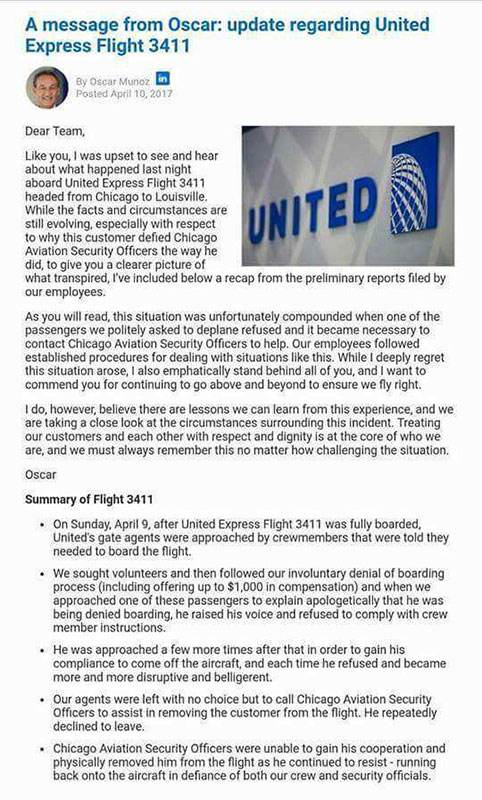 United Airlines CEO sends email to employees after passenger dragged off plane