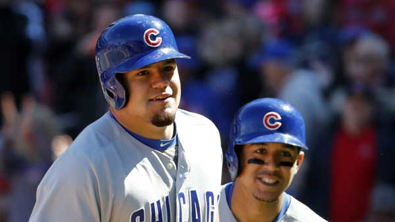 Chicago Cubs' Kyle Schwarber, left, celebrates alongside teammate Jon Jay after hitting a three-run home run in St. Louis.
