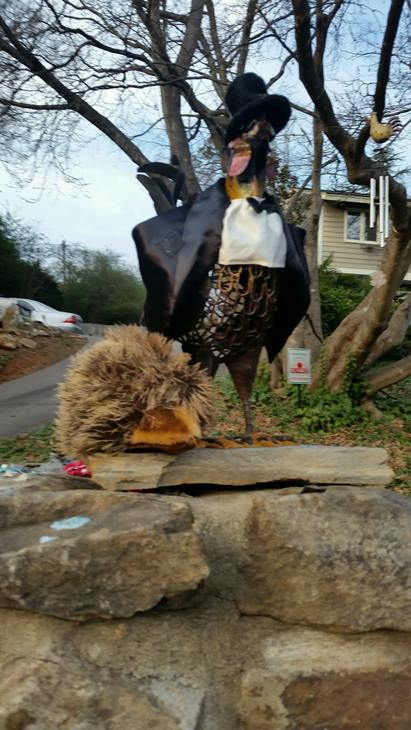 <div class='meta'><div class='origin-logo' data-origin='WTVD'></div><span class='caption-text' data-credit='Credit: Nancy Hight'>Raleigh residents search for &#34;The Chicken&#34; who went missing Friday.</span></div>