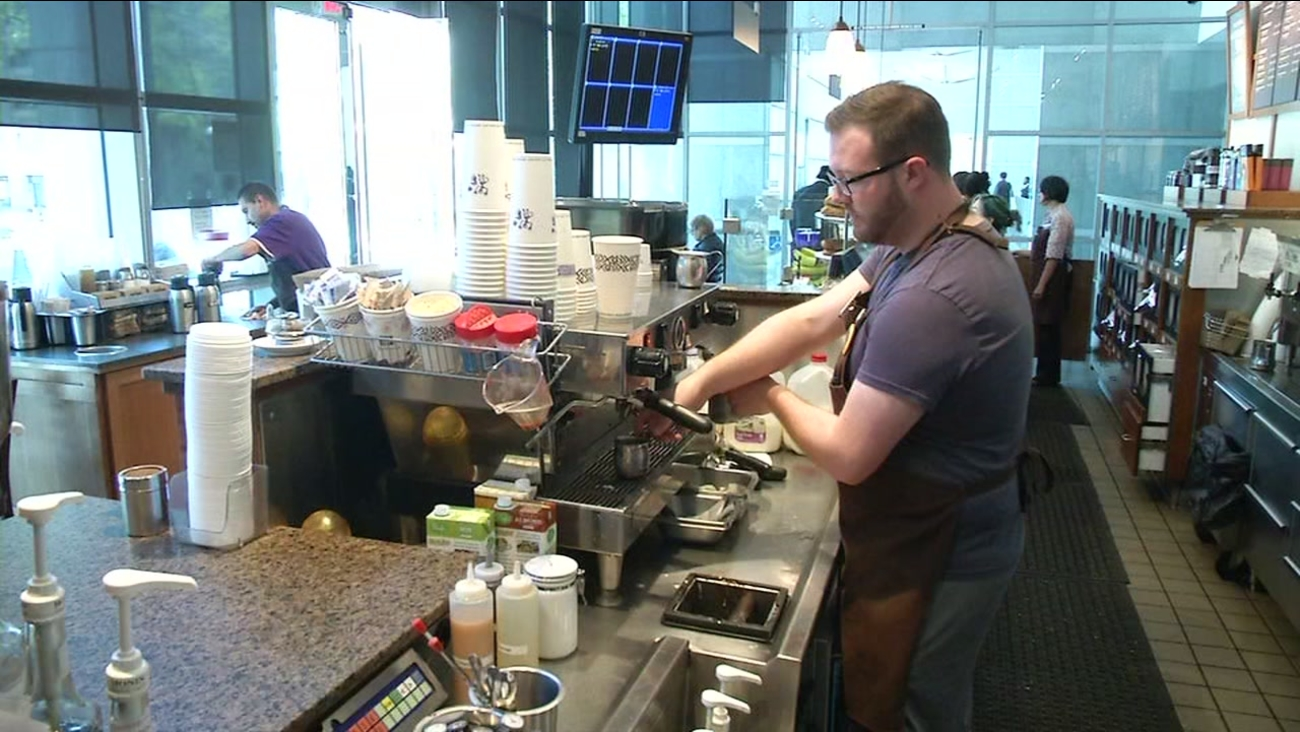 A barista is seen at a Peet's Coffee in this undated image.