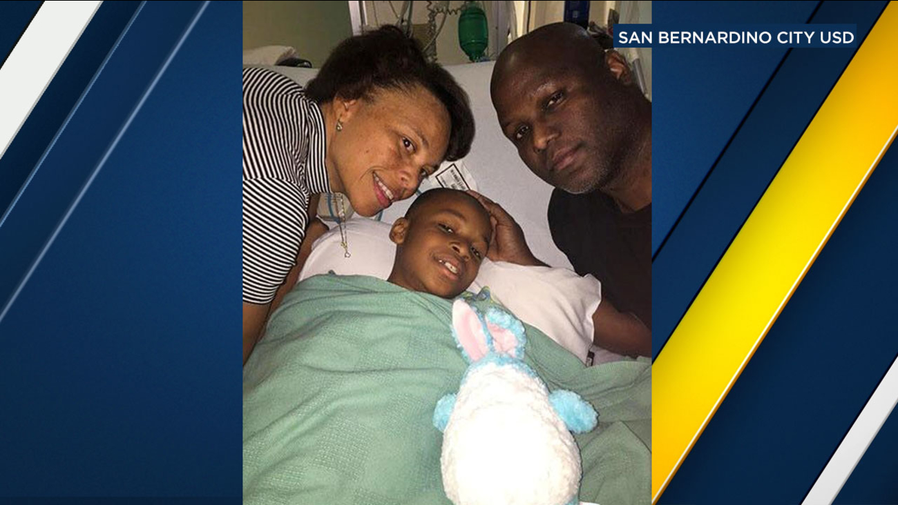 The 9-year-old boy injured in a murder-suicide shooting at North Park Elementary in San Bernardino is recovering, according to his parents.