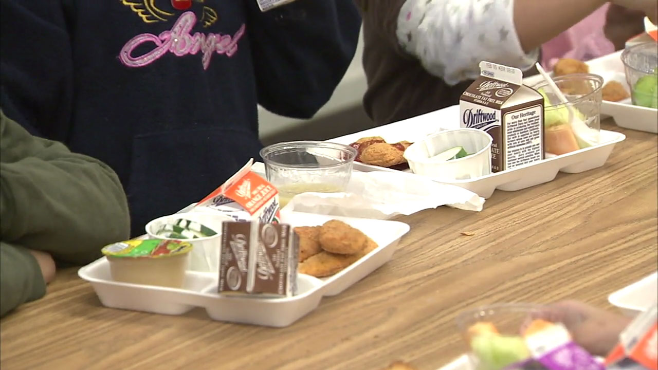 A file image shows a lunch at a school in the Los Angeles Unified School District.