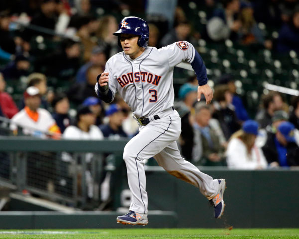 "<div class=""meta image-caption""><div class=""origin-logo origin-image none""><span>none</span></div><span class=""caption-text"">Houston Astros' Norichika Aoki scores against the Seattle Mariners in a baseball game Wednesday, April 12, 2017, in Seattle. (AP Photo/Elaine Thompson)</span></div>"