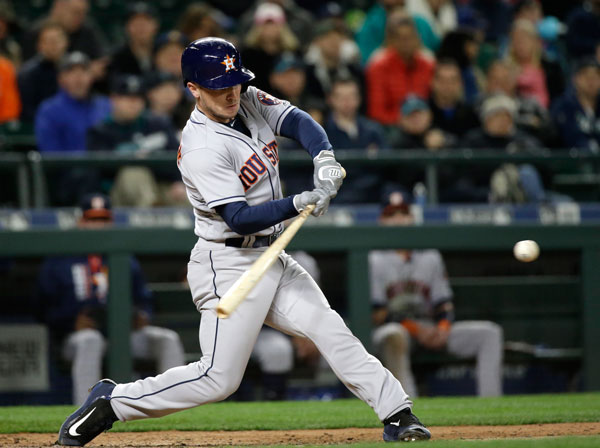 "<div class=""meta image-caption""><div class=""origin-logo origin-image none""><span>none</span></div><span class=""caption-text"">Houston Astros' Alex Bregman doubles in a run against the Seattle Mariners in the seventh inning of a baseball game Wednesday, April 12, 2017, in Seattle. (AP Photo/Elaine Thompson)</span></div>"