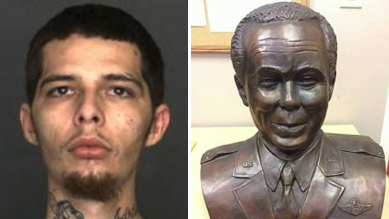Brian Sawyer, 24, of Fontana and the stolen Tuskegee Airman statue are shown in photos.
