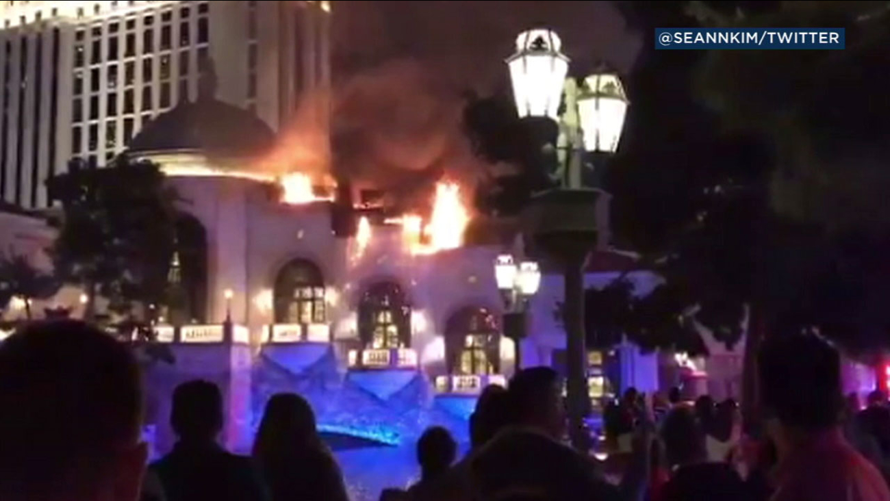Part of the roof of the Bellagio hotel and casino in Las Vegas was engulfed in fire late Thursday night.