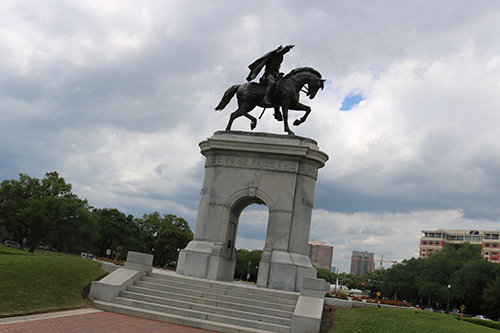<div class='meta'><div class='origin-logo' data-origin='KTRK'></div><span class='caption-text' data-credit='Danny Clemens'>A bronze state at the northwest corner of Hermann Park pays tribute to Sam Houston.</span></div>