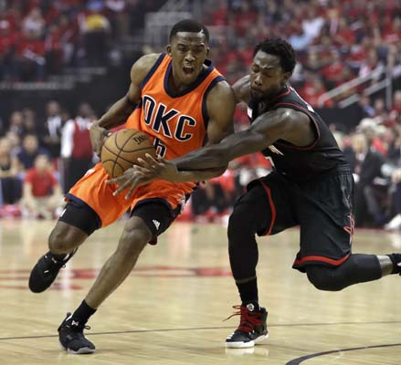 "<div class=""meta image-caption""><div class=""origin-logo origin-image ktrk""><span>KTRK</span></div><span class=""caption-text"">Oklahoma City Thunder's Semaj Christon (6) is fouled by Houston Rockets' Patrick Beverley, right, during the first half in Game 1. (AP Photo/David J. Phillip) (AP)</span></div>"