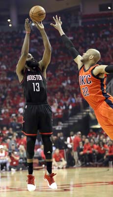 "<div class=""meta image-caption""><div class=""origin-logo origin-image ktrk""><span>KTRK</span></div><span class=""caption-text"">Houston Rockets' James Harden (13) shoots as Oklahoma City Thunder's Taj Gibson (22) defends during the second half in Game 1. (AP Photo/David J. Phillip) (AP)</span></div>"