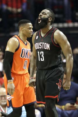 "<div class=""meta image-caption""><div class=""origin-logo origin-image ktrk""><span>KTRK</span></div><span class=""caption-text"">Houston Rockets' James Harden (13) reacts after a Oklahoma City Thunder turnover as the Thunder's Russell Westbrook (0) walks down the court. (AP Photo/David J. Phillip) (AP)</span></div>"