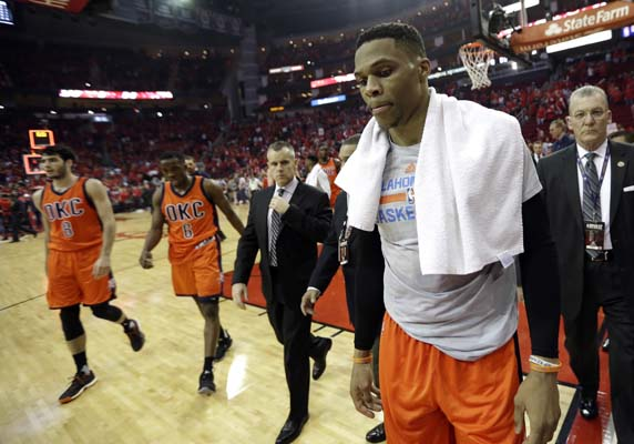 "<div class=""meta image-caption""><div class=""origin-logo origin-image ktrk""><span>KTRK</span></div><span class=""caption-text"">Oklahoma City Thunder's Russell Westbrook, right, leaves the court after losing to the Houston Rockets in Game 1. (AP Photo/David J. Phillip) (AP)</span></div>"