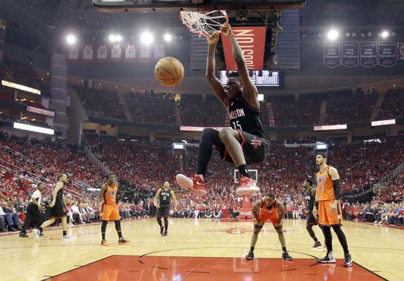 "<div class=""meta image-caption""><div class=""origin-logo origin-image ktrk""><span>KTRK</span></div><span class=""caption-text"">Houston Rockets' Clint Capela (15) dunks the ball against the Oklahoma City Thunder during the second half in Game 1. (AP Photo/David J. Phillip) (AP)</span></div>"
