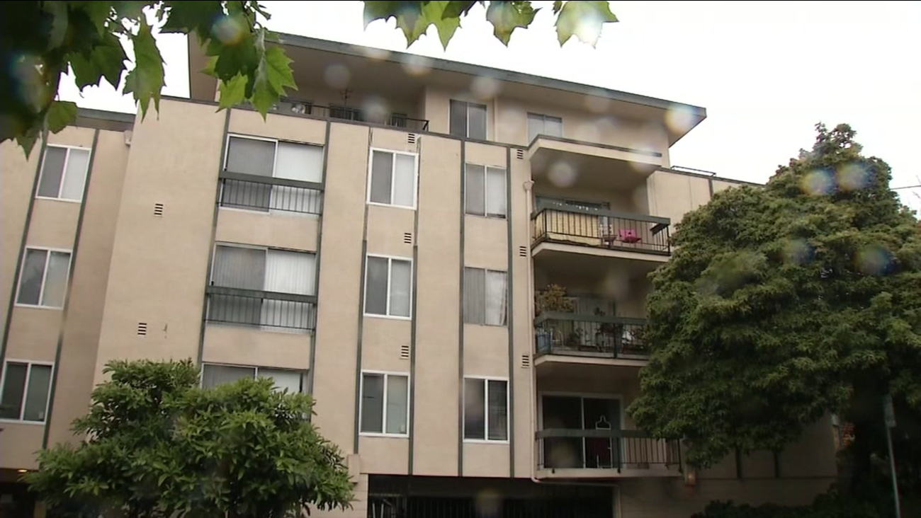 This image shows a balcony in Berkeley, Calif. where a student fell to her death on Sunday, April 16, 2016.