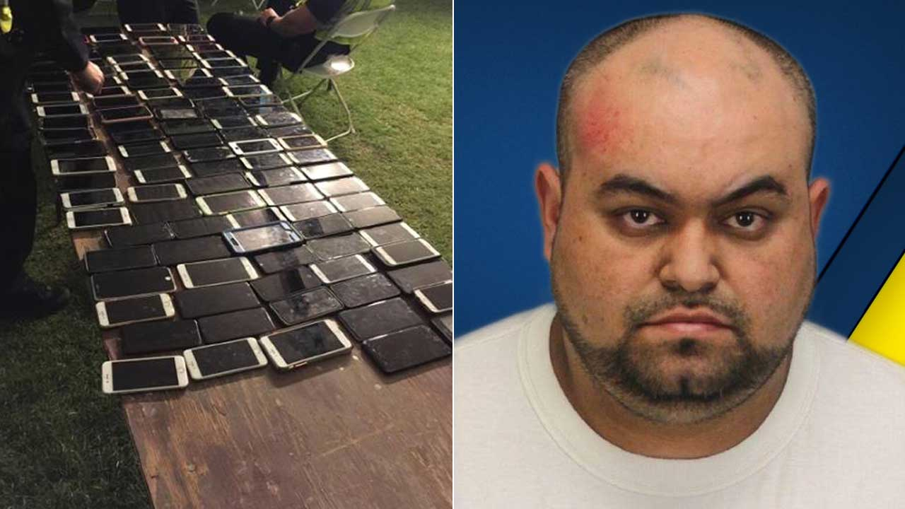 Police said Reinaldo De Jesus Henao had a backpack containing more more than 100 cellphones belonging to Coachella-goers when he was arrested Friday, April 13, 2017.