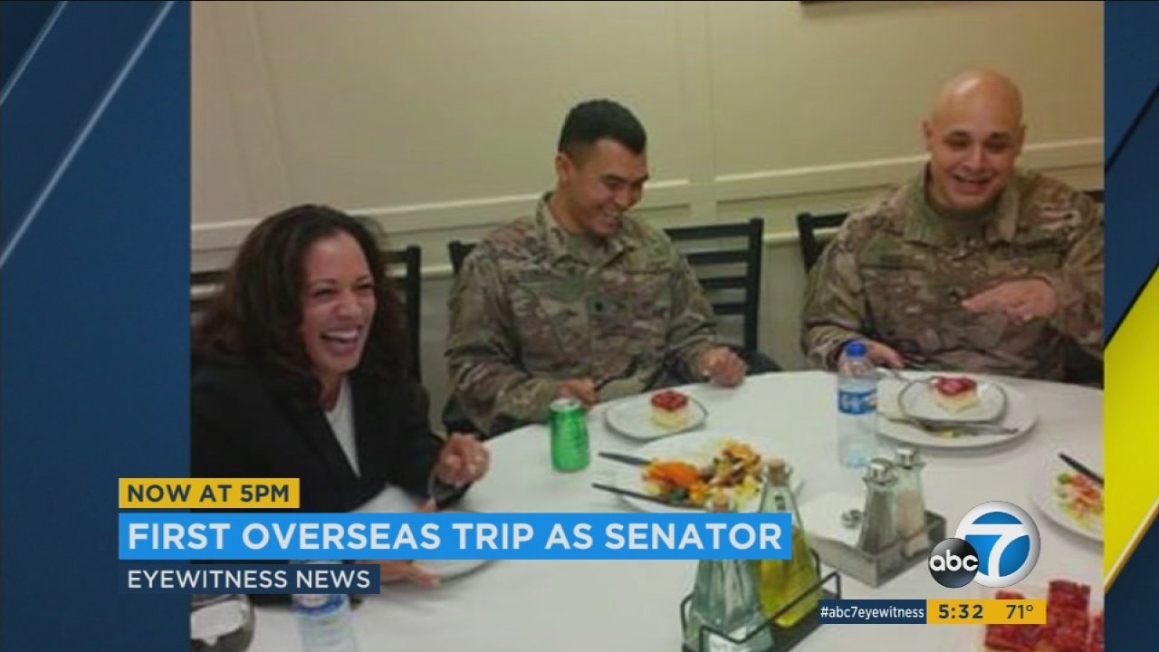 Sen Kamala Harris Visits Troops Refugee Camp In Middle East Abc7 Los Angeles