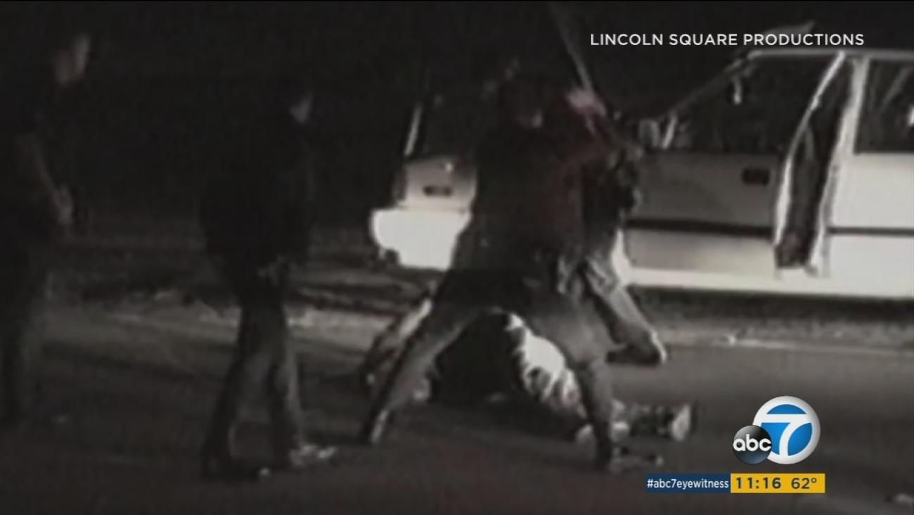 """A still image from the documentary """"Let It Fall"""" shows the police beating of Rodney King. (Photo: Lincoln Square Productions)"""