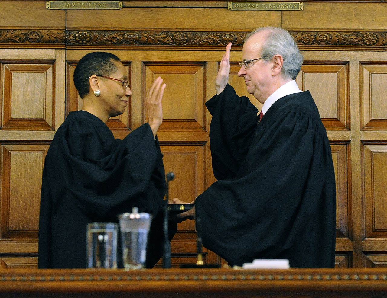 <div class='meta'><div class='origin-logo' data-origin='AP'></div><span class='caption-text' data-credit='AP Photo/Hans Pennink'>Court of Appeals judge Sheila Abdus-Salaam, left, is sworn in by New York Chief Judge Jonathan Lippman at the New York Court of Appeals in Albany, N.Y., Thursday, June 20, 2013.</span></div>