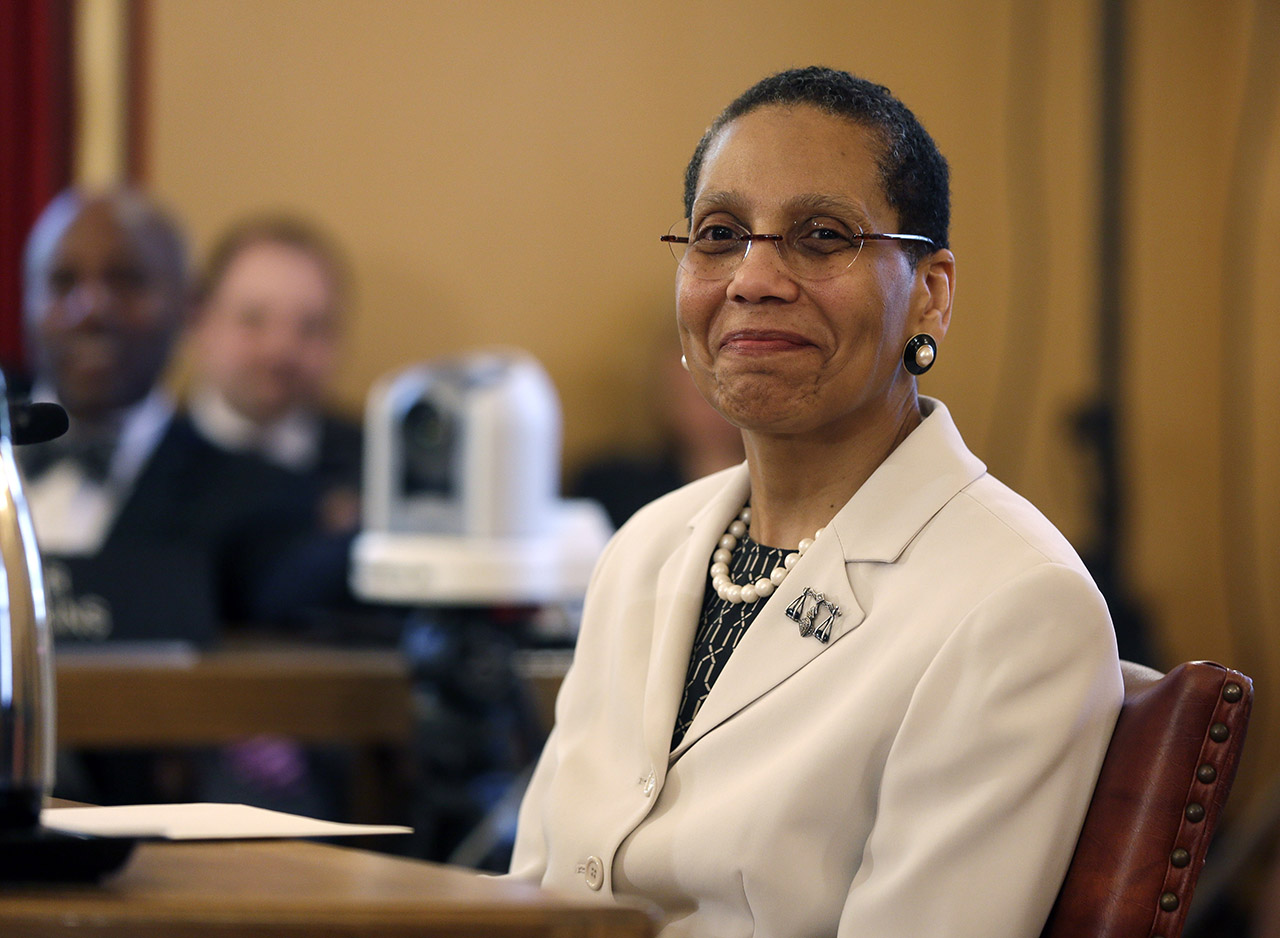 <div class='meta'><div class='origin-logo' data-origin='AP'></div><span class='caption-text' data-credit='AP Photo/Mike Groll'>Justice Sheila Abdus-Salaam looks on as members of the state Senate Judiciary Committee vote unanimously to advance her nomination to fill a vacancy on the Court of Appeals.</span></div>