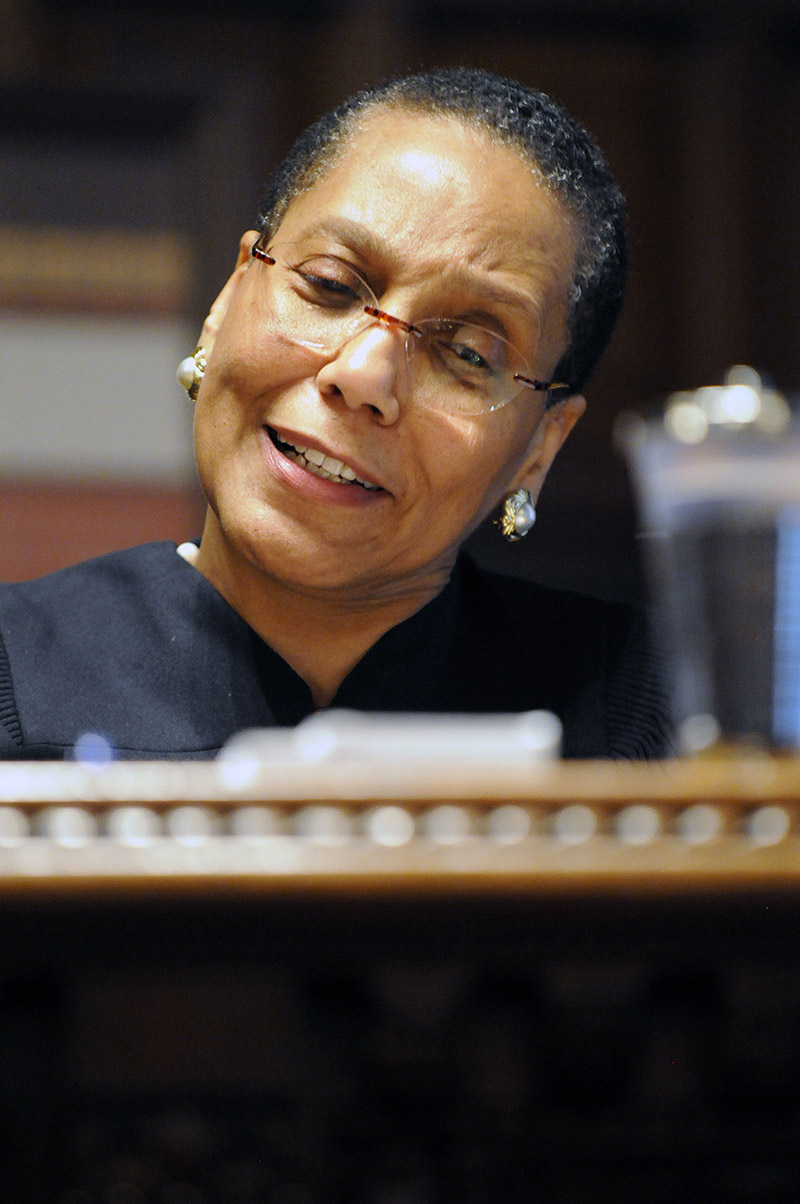<div class='meta'><div class='origin-logo' data-origin='AP'></div><span class='caption-text' data-credit='AP Photo/Hans Pennink'>Court of Appeals judge Sheila Abdus-Salaam speaks to family and friends after a swearing-in ceremony at the New York Court of Appeals in Albany, N.Y., Thursday, June 20, 2013.</span></div>
