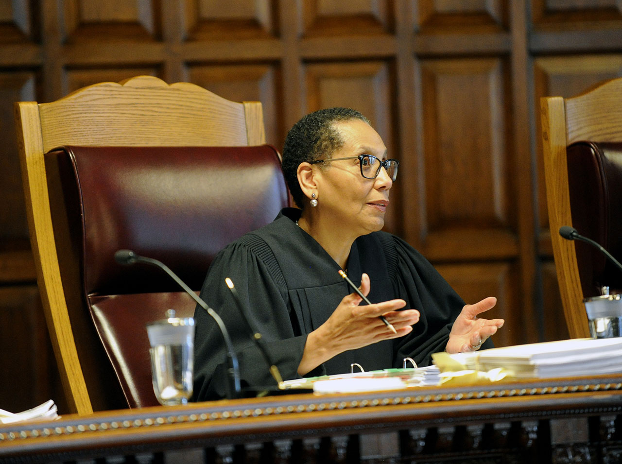 <div class='meta'><div class='origin-logo' data-origin='AP'></div><span class='caption-text' data-credit='AP Photo/Hans Pennink'>Sheila Abdus-Salaam listens to oral arguments on whether criminal defendants should be allowed to use allegations made in civil rights lawsuits against police witnesses.</span></div>