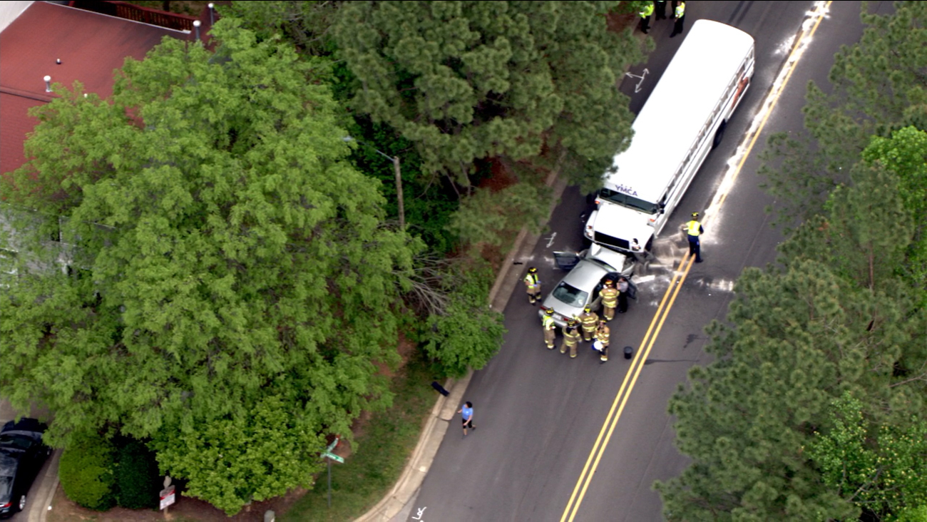 Vehicle and YMCA bus crash head-on in Wake County
