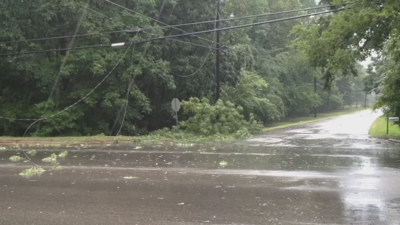 Power lines down in Durham