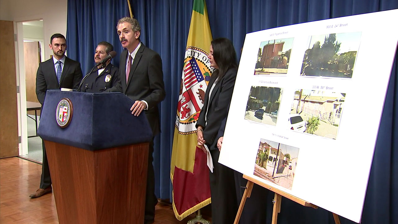 Los Angeles City Attorney Mike Feuer is shown during a press conference on lawsuits filed against properties involved in gang activity.