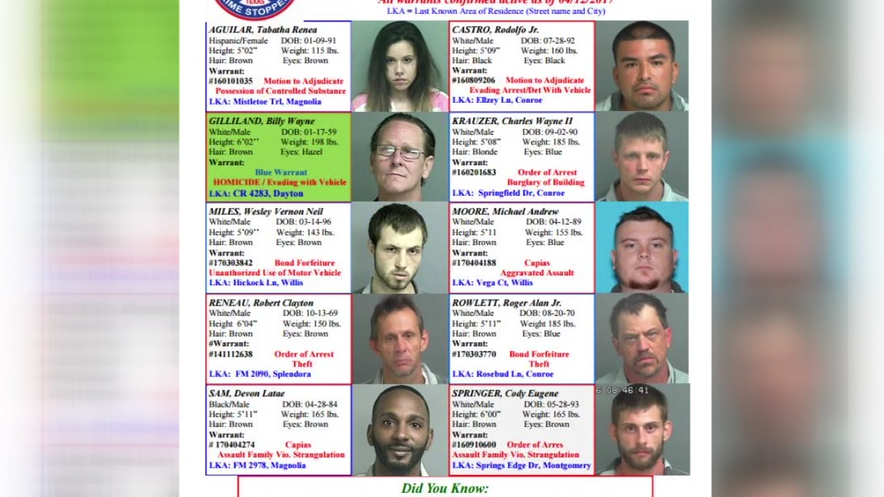 List of most wanted felons in Montgomery, Liberty & San Jacinto Counties