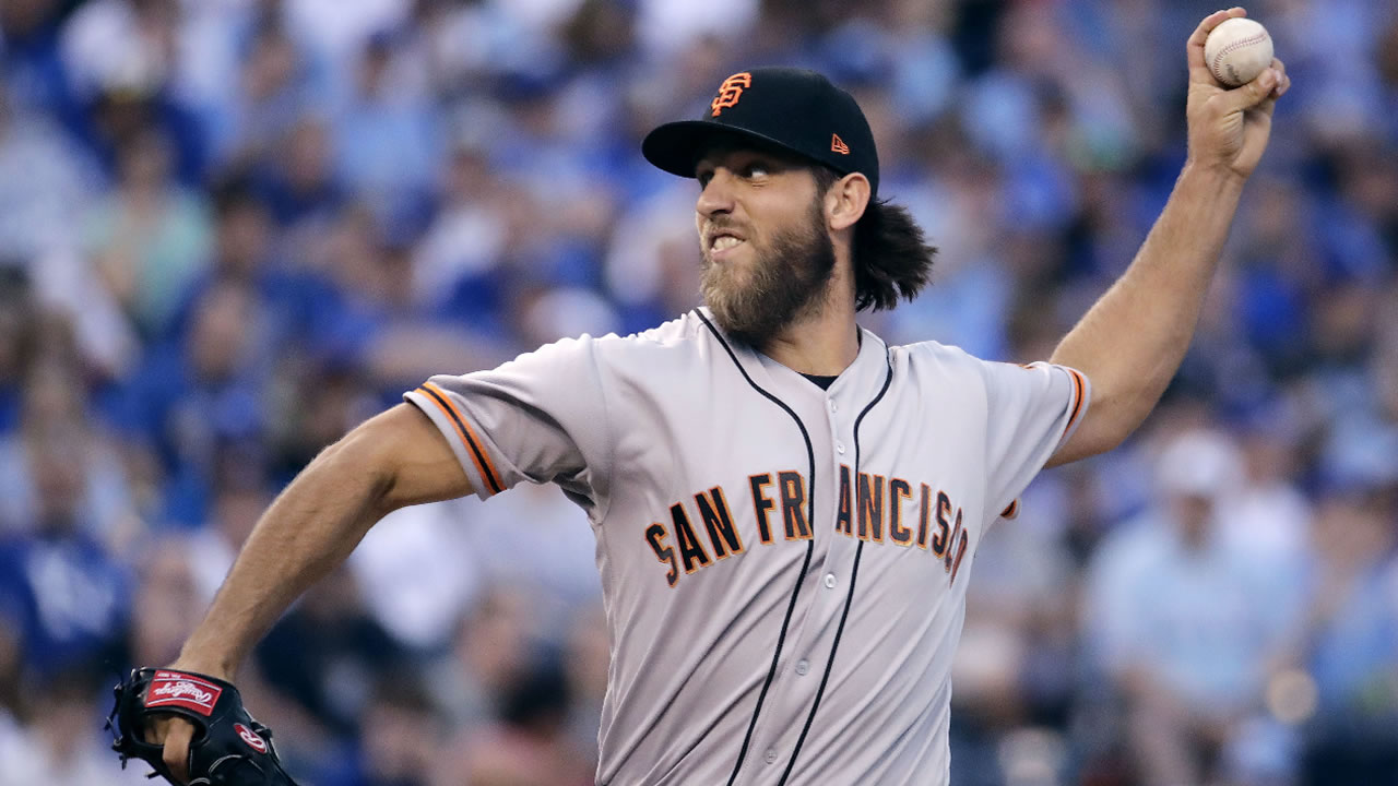 Madison Bumgarner throws during the first inning of a baseball game against the Kansas City Royals on Wednesday, April 19, 2017, in Kansas City, Mo.