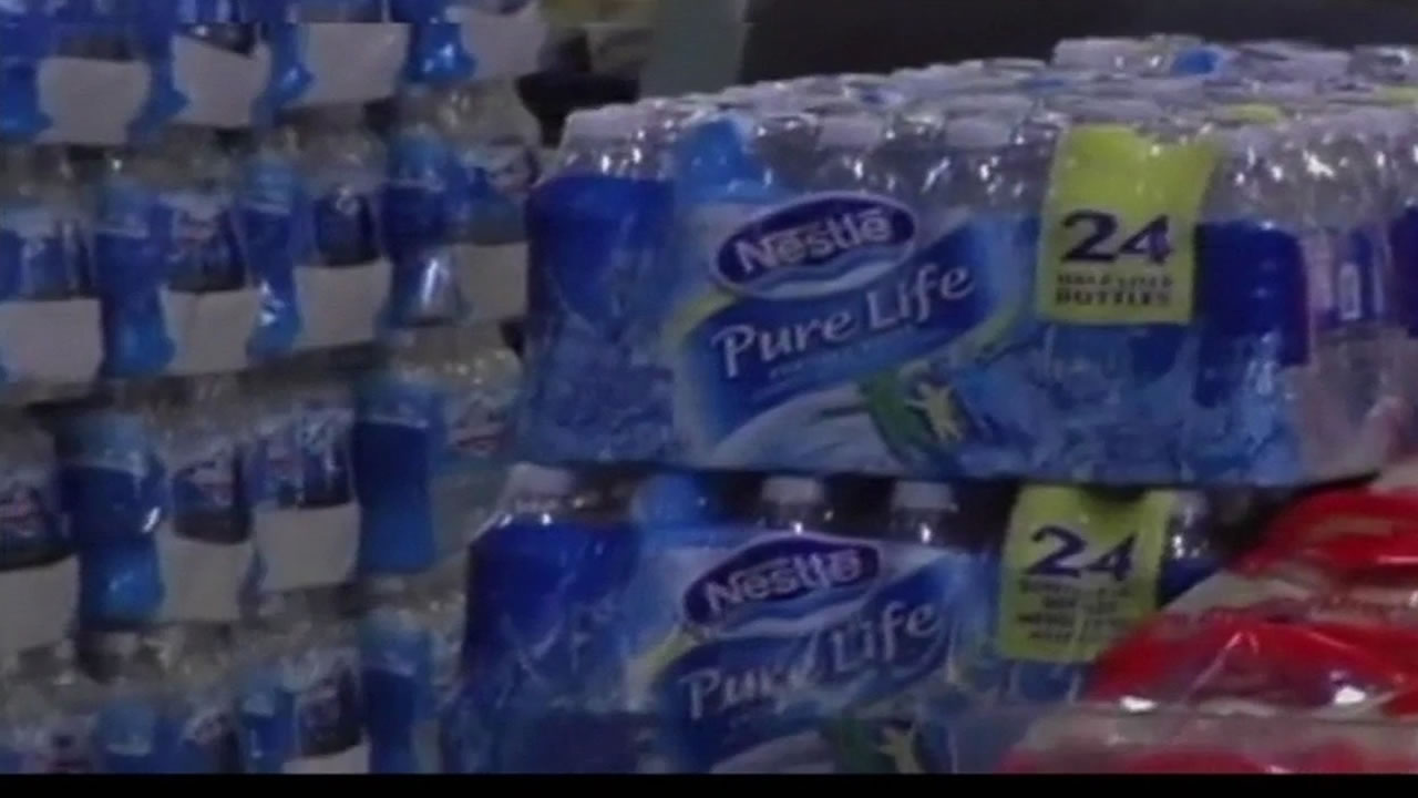 Bottles of water that are produced by Nestle.