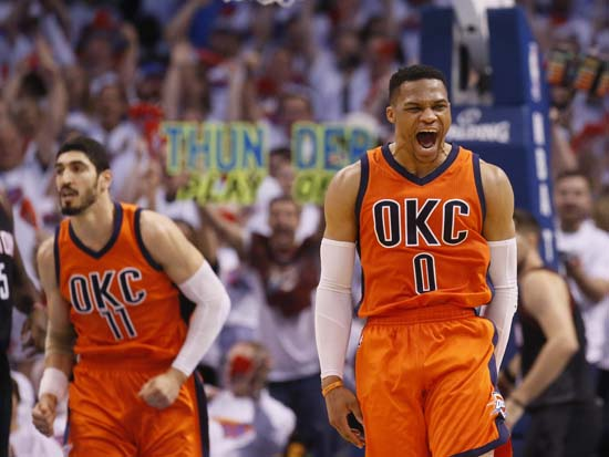<div class='meta'><div class='origin-logo' data-origin='AP'></div><span class='caption-text' data-credit='AP'>Oklahoma City Thunder guard Russell Westbrook (0) shouts following a dunk by teammate Enes Kanter (11) in the first half of Game 4. (AP Photo/Sue Ogrocki)</span></div>