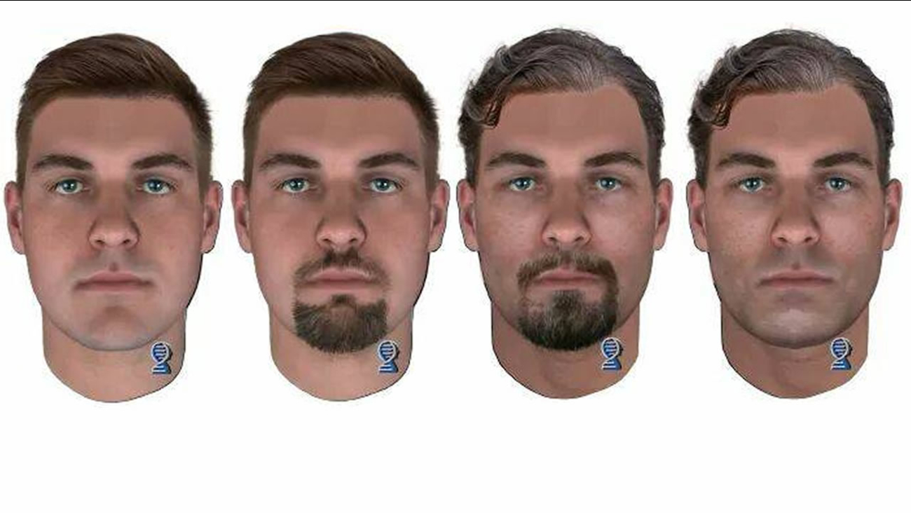 The composites are with and without facial hair and aged progressed to what the suspect may look like today.