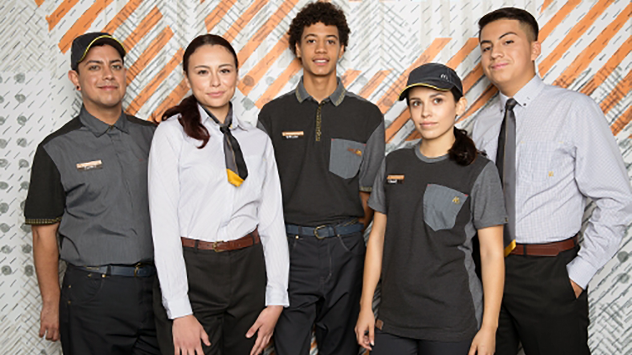 McDonald's revealed its new uniforms gray-on-gray uniforms.