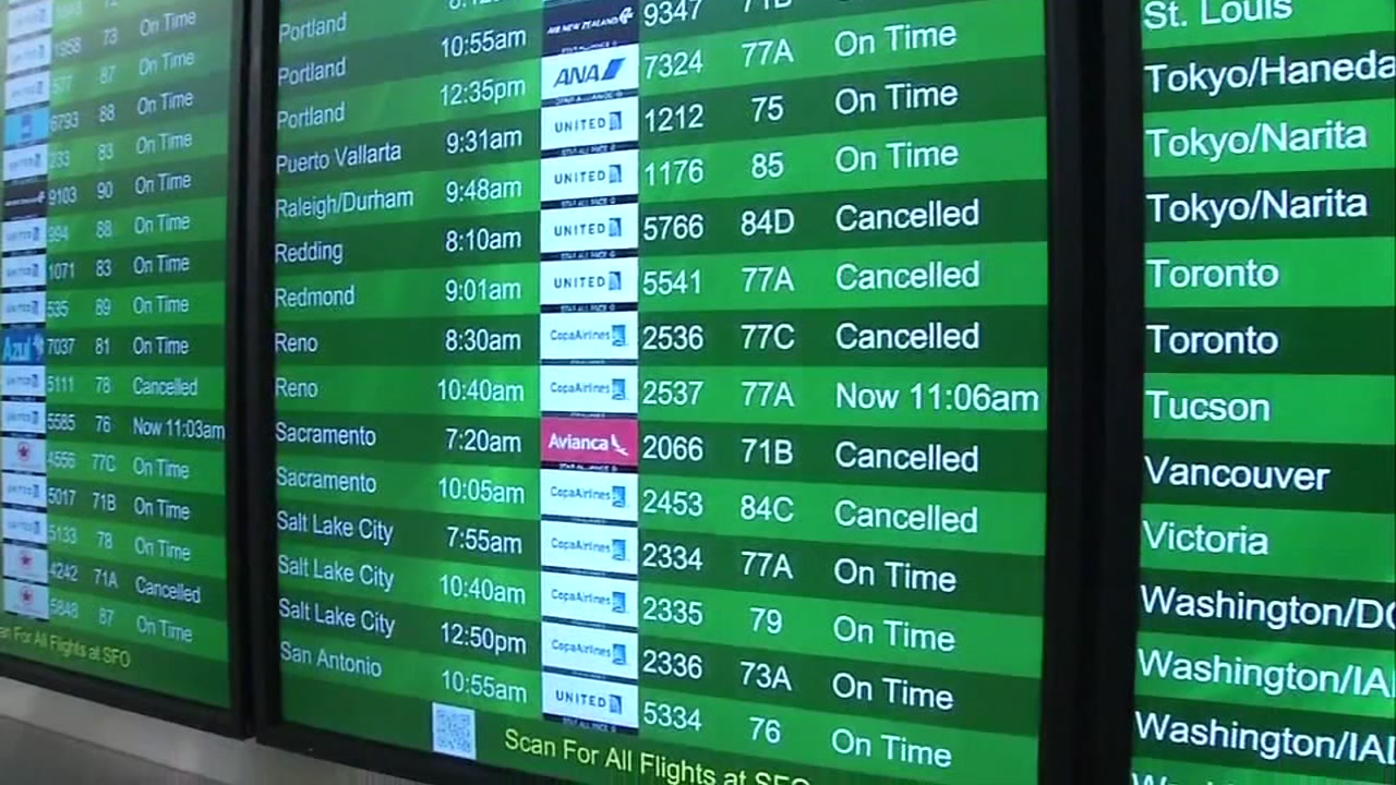 A San Francisco International Airport departure board is seen on Monday, April 24, 2017.