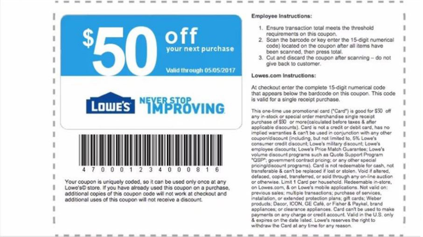 $50 Lowe's Mother's Day coupon is a scam, company says