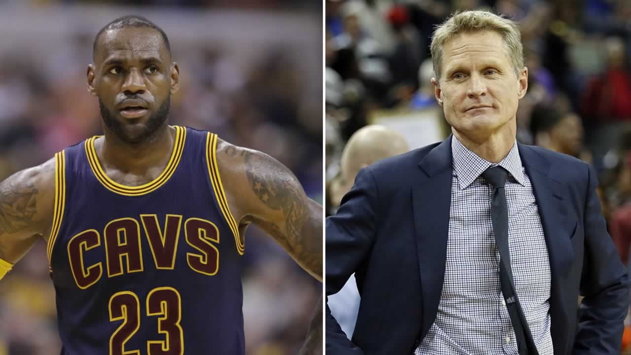 Cleveland Cavaliers star LeBron James, left, stands during a basketball game and Warriors head coach Steve Kerr, right, stands on the sidelines in this split image.