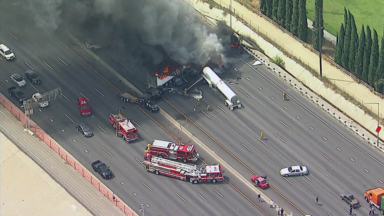 A semi-truck caught fire on the southbound 5 Freeway near Colorado in Griffith Park on Tuesday, April 25, 2017.