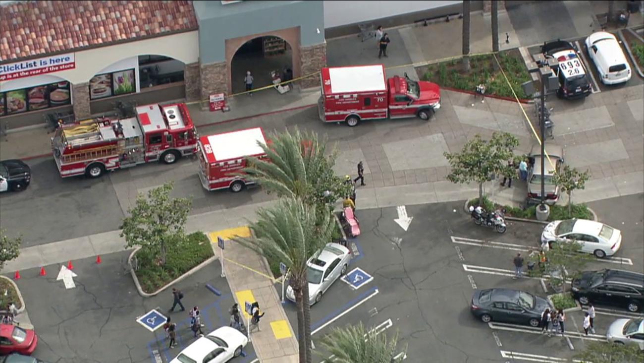 Five pedestrians were injured by a car in a Ralphs parking lot in Granada Hills.