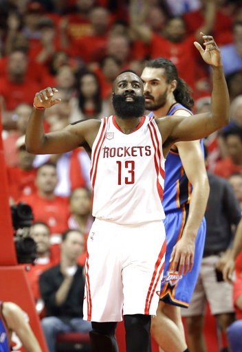 <div class='meta'><div class='origin-logo' data-origin='AP'></div><span class='caption-text' data-credit='AP'>Houston Rockets' James Harden (13) reacts after a turnover during the first half in Game 5<br> (AP Photo/David J. Phillip)</span></div>
