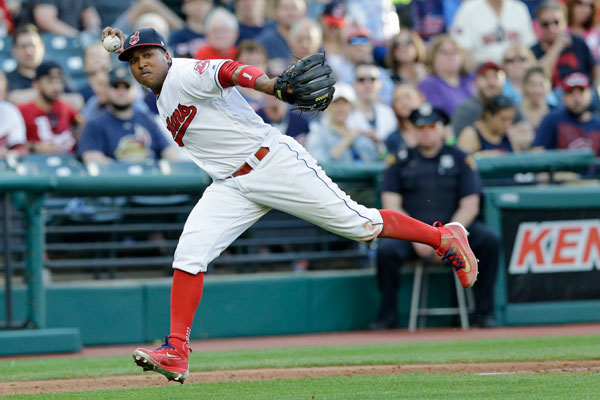 "<div class=""meta image-caption""><div class=""origin-logo origin-image none""><span>none</span></div><span class=""caption-text"">Cleveland Indians' Jose Ramirez looks but doesn't throw to first base in the fourth inning of a baseball game against the Houston Astros, Wednesday, April 26, 2017, in Cleveland. (AP Photo/Tony Dejak)</span></div>"