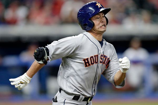 "<div class=""meta image-caption""><div class=""origin-logo origin-image none""><span>none</span></div><span class=""caption-text"">Houston Astros' Norichika Aoki runs out a single during the eighth inning of the team's baseball game against the Cleveland Indians, Wednesday, April 26, 2017, in Cleveland. (AP Photo/Tony Dejak)</span></div>"
