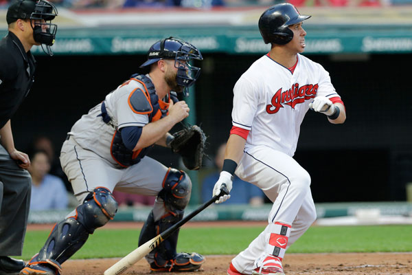 "<div class=""meta image-caption""><div class=""origin-logo origin-image none""><span>none</span></div><span class=""caption-text"">Cleveland Indians' Michael Brantley watches his two-run single off Houston Astros starting pitcher Lance McCullers Jr. in the fifth inning of the baseball game. (AP Photo/Tony Dejak)</span></div>"