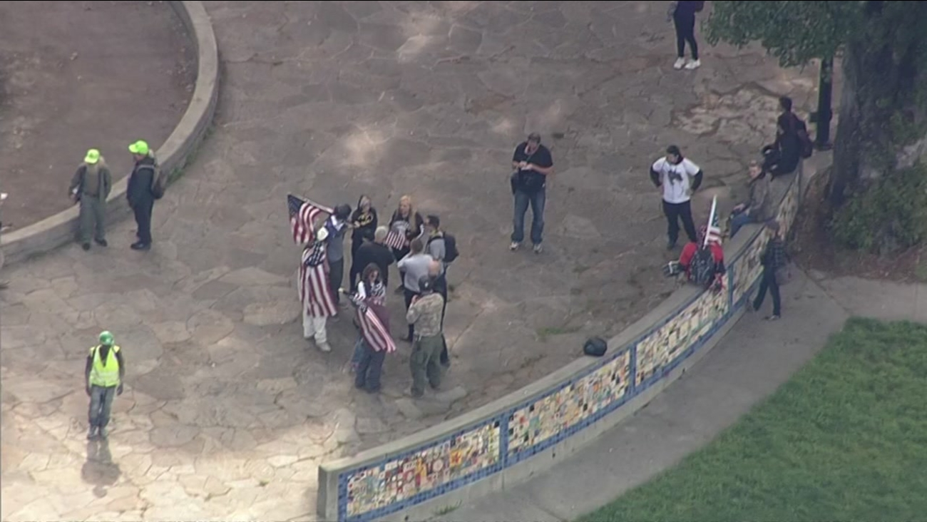 This view from Sky7 shows a group protesting in Berkeley, Calif. on Thursday, April 27, 2017.