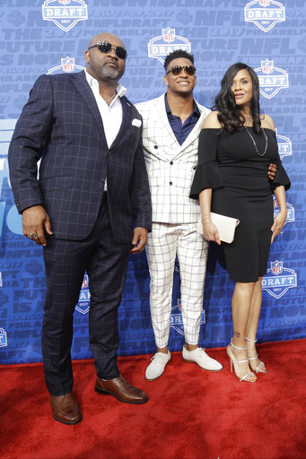<div class='meta'><div class='origin-logo' data-origin='AP'></div><span class='caption-text' data-credit='AP'>LSU's Jamal Adams, center, arrives for the first round of the 2017 NFL football draft, Thursday, April 27, 2017, in Philadelphia. (AP Photo/Julio Cortez)</span></div>