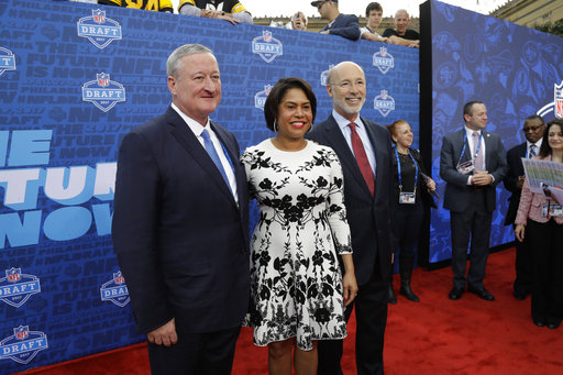 <div class='meta'><div class='origin-logo' data-origin='AP'></div><span class='caption-text' data-credit='AP'>Philly Mayor Jim Kenney, left, and Pennsylvania Gov. Tom Wolf, right, pose on the red carpet before the first round of the 2017 NFL football draft. (AP Photo/Julio Cortez)</span></div>