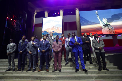 "<div class=""meta image-caption""><div class=""origin-logo origin-image ap""><span>AP</span></div><span class=""caption-text"">College players pose before the first round of the 2017 NFL football draft, Thursday, April 27, 2017, in Philadelphia. (AP Photo/Matt Rourke) (AP)</span></div>"
